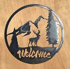 Rustic Home Buck in The Woods Welcome Sign 18 x 18 Metal Words Wall Decor