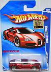 HOT WHEELS 2010 HOT AUCTION BUGATTI VEYRON 02 10 RED SATIN FACTORY SEALED W+
