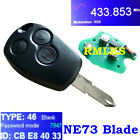 Remote Key Fob 433MHz PCF7947AT Chip fit for RENAULT Master Kangoo Modus 3BTN