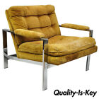 Vintage Milo Baughman Style Flat Bar Chrome Club Lounge Chair Armchair