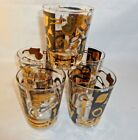 Rare Vintage Federal Highball Glasses Set of 5 Black and Gold Car Parts Archer