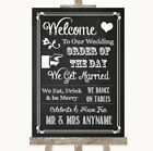 Wedding Sign Poster Print Chalk Sketch Welcome Order Of The Day