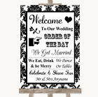 Wedding Sign Poster Print Black  White Damask Welcome Order Of The Day