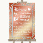Wedding Sign Poster Print Coral Pink Welcome Order Of The Day