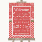Wedding Sign Poster Print Red Winter Welcome Order Of The Day