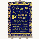 Wedding Sign Poster Print Blue  Gold Welcome Order Of The Day