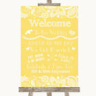 Wedding Sign Poster Print Yellow Burlap  Lace Welcome Order Of The Day