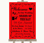 Wedding Sign Poster Print Red Welcome Order Of The Day