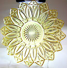 VINTAGE FEDERAL PRESSED GLASS YELLOW PETAL PATTERN SERVING PLATE 11 1/2