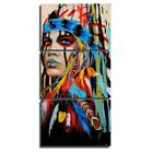 Native American Indian Canvas Wall Art Paintings Woman Girl Colorful Feathered