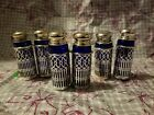 Vintage Silver Plated Cobalt Blue Glass  Metal Salt  Pepper Shakers