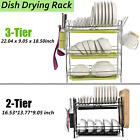 2 3 Tier Dish Plate Cup Drying Rack Organizer Drainer Storage Holder For Kitchen
