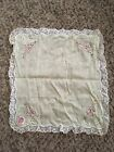 Vintage Wil-low Embroidered Handkerchief Made In Switzerland