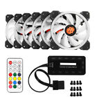 3 6 PCS RGB LED Quiet Computer Case PC Cooling Fan 120mm with Remote Control CHW