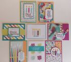 8 Handmade Happy Birthday cards Stampin up Picture Perfect DSP Perennial Bday