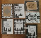 7 Handmade CHRISTMAS cards Oct Sale black plaid trees snowflakes Stampin Up