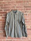 VINTAGE Armani Jeans Mens Striped Shirt Size Small Italy