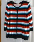 Ladies XL Christopher and Banks Cardigan Sweatre in Red, White, Blue and Black