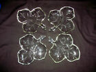 Vtg 1950's Hazel Atlas Set of 4 Maple Leaf Shape 3-Section Nut/Candy/Relish Dish