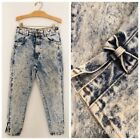 Vintage CHIC Womens Jeans Sz 9P Acid Washed Tapered Ankle Slits Bows High Waist