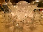 Vintage Grape Design Anchor Hocking Punch Bowl with cups