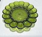 Indiana Green Glass Deviled Egg Serving Dish Tray Hobnail Plate vintage glass