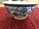 Asian Porcelain Blue and White with little bit of red soup or dipping cup
