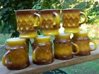 SET OF 7 ANCHOR HOCKING MUGS KIMBERLY DIAMOND MATCHING BROWN YELLOW FIRE KING