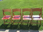 4 Vintage Wooden Red Padded Folding Chair,
