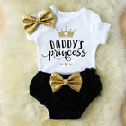 3PCS Cute Newborn Baby Girl Outfits Clothes Tops Romper+Tutu Shorts Pants Set US
