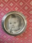 STERLING SILVER VINTAGE WEB ROUND ORNATE PICTURE PHOTO FRAME 3.5''