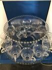 Vintage Imperial Glass Ohio  CANDLEWICK PUNCH BOWL SET W/ UNDER PLATE