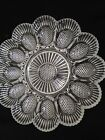 VINTAGE  CLEAR  Glass HOBNAIL  DEVILED  EGG  PLATE HOLDS