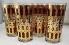 Mid Century 4 CULVER Cranberry 22K Gold Scroll Highball Glasses 5 1/2