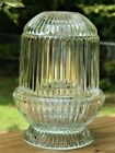 VINTAGE GLASS FAIRY LAMP CANDLE TEA LIGHT RIBBED THREE PIECE HOMCO