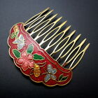 Cloisonne 225 Hair Comb Red Butterfly Painted Enamel Vintage Style Updo Clip