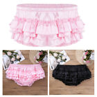 Mens Satin Ruffled Skirt Panties Sissy Bloomer Lingerie Pouch Thong Underwear