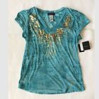 New Baby Phat Blouse Blue Vneck Shirt Gold Bedazzled Size 1X