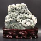 100% Natural DuShan Jade Handwork Carved Statue Mountain Water Scenery Deco Art