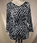 NEW NY Collection Womens Career Blouse Black White Animal Print Size M