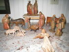 Exquisite 16 Piece Antique Hand Carved Wood Nativity Figurines ANTIQUE VINTAGE