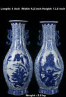 Chinese Beautiful Pair Blue and White Porcelain Duo Handles Landscape View Vases