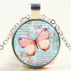 Flower Butterfly Cabochon Tibetan silver Glass Chain Pendant Necklace 7297