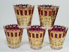 5 CULVER Valencia On The Rocks Tumbler Gold Ruby Red Low Ball Drink Glasses aa