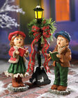 Christmas Carolers Holiday Table Statues w LED Lighted Lamp Post 3pc Set