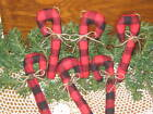 6 Handmade Buffalo Plaid fabric Candy Canes Country Christmas Home Decor