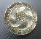 Vintage Large Clear Lacy Glass Reflective Backed Button in Flower Design