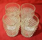 Vintage Indiana Glass Clear Diamond Point Lowball Tumblers SET OF 4. EXC. COND.