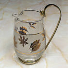 Vintage Libbey Pitcher in Golden Foliage with Detachable Metal Handle