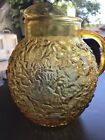 Vintage Amber Honey Gold Glass MILAN~O Lido Round PITCHER~Anchor Hocking 96oz